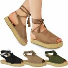 Womens Ladies Lace Up Espadrilles Summer Strappy Sandals Flat Wedge Shoes Size