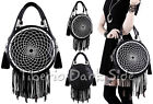 Restyle White Dream Catcher Embroidery Tassel Nu Goth Round Shoulder Bag Handbag