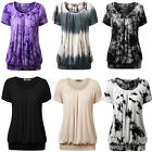 Womens Casual Short Sleeve Scoop Neck Pleated Front Blouse Tunic Top T-shirt