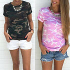 Womens T Shirt Ladies Army Camouflage Print Short Sleeve Round Neck Blouse Top