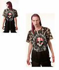 Gothic Vampire Spade Skull T - Shirt With Rivets Size Large