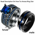 2 Rings Couple Rings Stainless Steel Black Band Sapphrie CZ Women's Wedding Ring