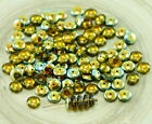 60pcs Crystal Gold Half Czech Glass Disc Beads Solo Flat Disk Spacer One Hole 6m