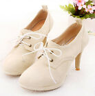 lace up stiletto women's shoes round toe high heel faux suede ankle boots