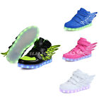 Boys Girls Children Wings LED Shoes Light up Unisex Youth Luminous Sneakers