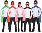 Kids Red Blue Black Green Pink Super Hero Cape Mask Fancy Dress Costume Outfit