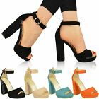 Womens Ladies Platforms Block High Heels Chunky Ankle Strap Open Sandals Size