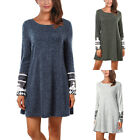 Women's Fashion Tops Boat Neck Printed Cuff Knit Sweater Long Tunic Blouses Gift