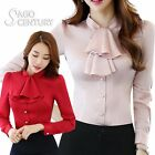 Womens Office Blouses Slim Tops Button Silky Bow-knot Collar Ruffle Satin Shirt
