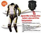 Motorbike leather suit with free back protector customize your bike racing suit
