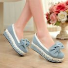 hot women's lace blue denim canvas pumps wedge heel bow knot casual heel shoes