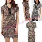 NEW Punk Lace Up Deep V Neck Camo Print Top Blouse T Shirt Kaftan Mini Dress