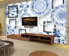 3D Blue And White Porcelain Paper Wall Print Wall Decal Wall Deco Indoor Murals