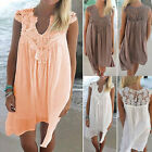 New Boho Womens Lace Embroidery Summer Loose Casual Beach Mini Swing Dress S-2XL