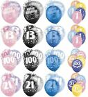 """Birthday Party Glitz Latex Balloons 12"""" Pink Blue Decorations 6 Pack Ages 13-100"""