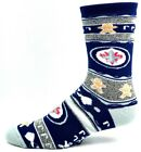 Winnipeg Jets Hockey Ugly Gingerbread Christmas Sweater Crew Socks Navy Silver $10.99 USD on eBay