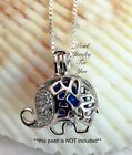 Fancy ELEPHANT STERLING SILVER Pearl Cage Pendant Necklace akoya oyster