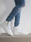 883 Police Mens Law White Upper Leather Rubber Sole Trainers Shoes High Top