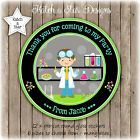 SCIENCE BOYS BIRTHDAY PARTY PERSONALISED ROUND GLOSS STICKERS X12