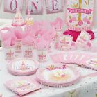1st First Birthday Girls Pink & Gold Party Supplies Tableware