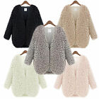 New Womens Wool Coat Fluffy Fur Jacket Winter Warm Outwear Long Sleeve Cardigan