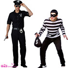 ADULT MENS COPS AND ROBBERS POLICE BURGLAR COUPLES FANCY DRESS COSTUME OUTFIT
