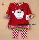 New Girls Christmas Xmas Santa Outfit Set Top TUTU Legging Party Dress Size 0-8Y
