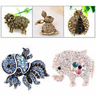 Retro Animal Men Women Jewelry Crystal Rhinestone Brooch Scarf Pin Party Gift