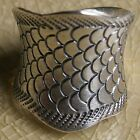 Cool Fish Scale Karen Hill Tribe Ring Pure Silver Size.US=7 UK=N Adjustable