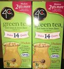 4C Green Tea Lemon Honey Flavor 7 Packets 14 Quarts Drink Mix - 2 Boxes