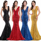 Bling Sexy Mermaid Bodycon Sequins Long Evening WEDDING PAGEANT Prom Party Dress