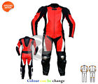 Red motorbike apparel bike racing leather suit in red and black one or two piece