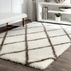 nuLOOM Moroccan Diamond Contemporary White Brown Shag Area Rug