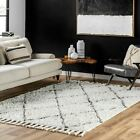 nuLOOM Hand Knotted Wool Tassel Natural White Shag Area Rug