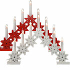 Pre-Lit LED Candle Bridge Arch Table Window Decoration Wood Red White
