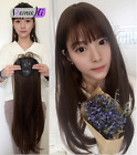 Synthetic Silk straight Hair Extension Toupee Hairpiece Replacement with bang