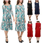 Women's 3/4 Sleeve Pleated Front Pockets A-line and Flare Swing Midi Long Dress