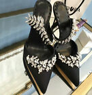 Womens New fashion Sexy Shoes  Half the slippers rhinestone sequins