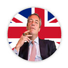 NIGEL FARAGE with CIGAR on UNION JACK FLAG Pin Back Button Badges 38, 45 & 58mm