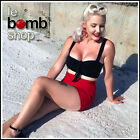 50s Style BOMBSHELL Pinup Solid BLACK Bandeau CROP Top with TIE BUST & Keyhole