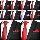 QUALITY MEN'S WEDDING GROOM PARTY SLIM TIE POCKET SQUARE SET SILK POLYESTER NEW $14.06 USD on eBay
