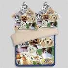 Cute Dogs Animal Print Quilt Duvet Doona Cover Set Queen King Size Fitted Sheet
