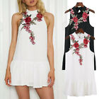 Womens Fashion Clothes Summer Sleeve-Backless Embroidery Club Party Mini Dress