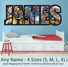 Childrens Name Wall Stickers Art Personalised Superman Comics for Boys Bedroom