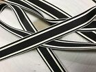 "Vintage 1940's Rayon 5/8 "" Grosgrain Ribbon 1yd Stripe Black/ White Reversible"