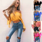 Fashion Womens Off Shoulder Ruffled Crop Tops Summer Long Sleeve Casual Blouse