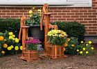 Amish Handcrafted Cedar Wood Hand Pump Flower Bucket Planter Outdoor Garden