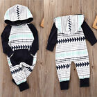 USA Fashion Baby Kids Boys Girls Romper Hooded Jumpsuit Bodysuit Outfit Clothes