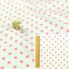 PINK WHITE Fat Quarter/Meter/FQ 100%Cotton Fabric | Polka Dot Material 8mm Spots