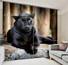 3D Black Dog Blockout Photo Curtain Printing Curtains Drapes Fabric Window AU